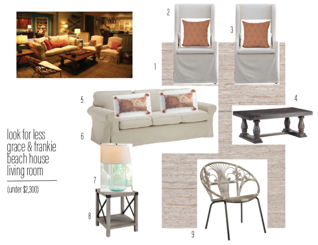 look for less grace & frankie beach house living room (under ...
